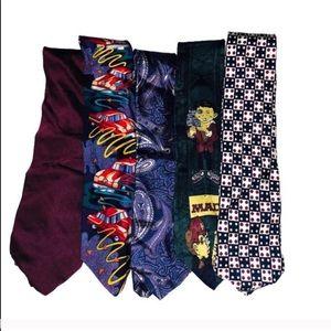 5 men's vintage ties